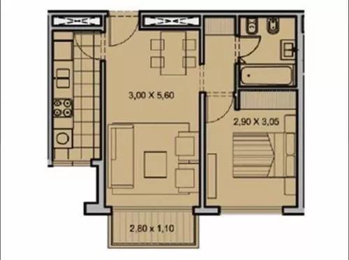 departamento - almagro - dos ambientes con pileta y parrilla!