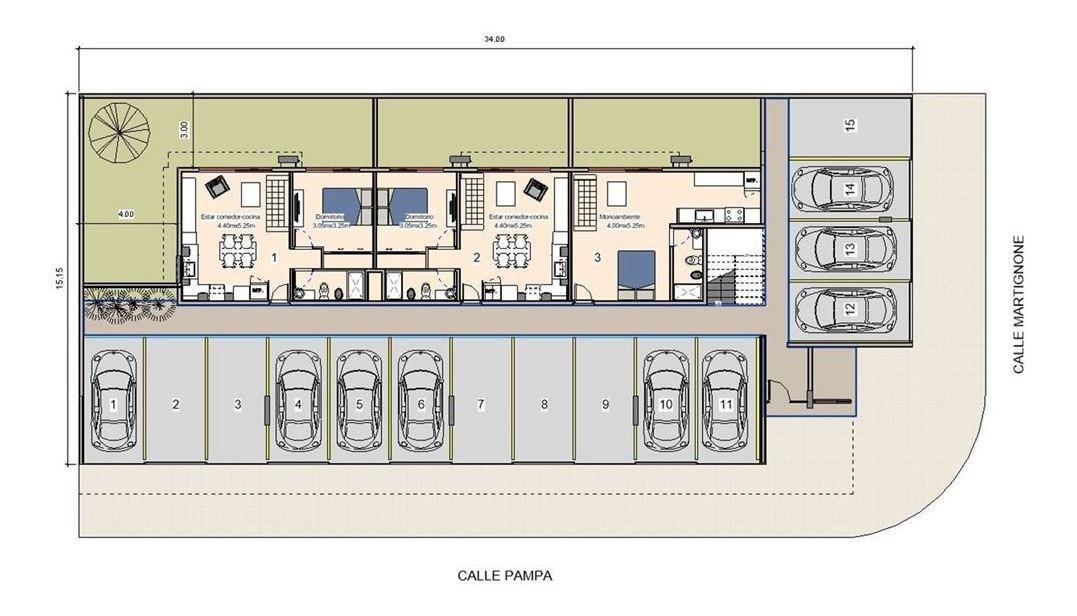 departamento centro de pilar  2 ambientes en pozo