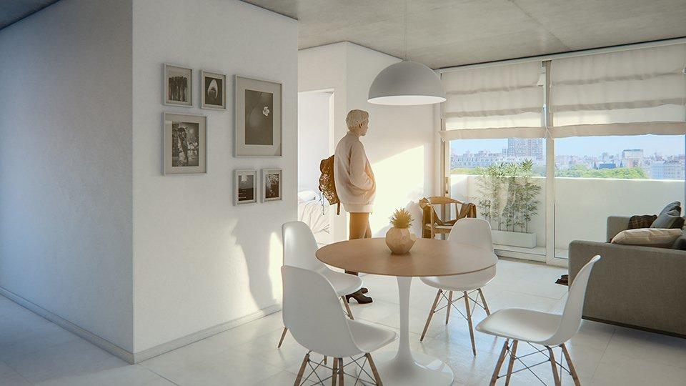 departamento de 1 dormitorio con patio exclusivo. edificio con pileta y patio de uso comun. espacios verdes.