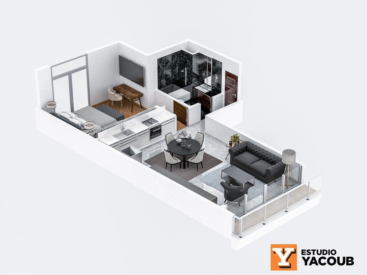 departamento de 1 dormitorio en diagonal 73 entre 54 y 55