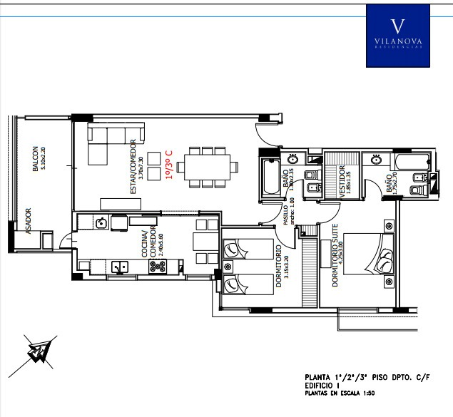 departamento de 2 dormitorios, con dos cocheras vilanova, villa belgrano