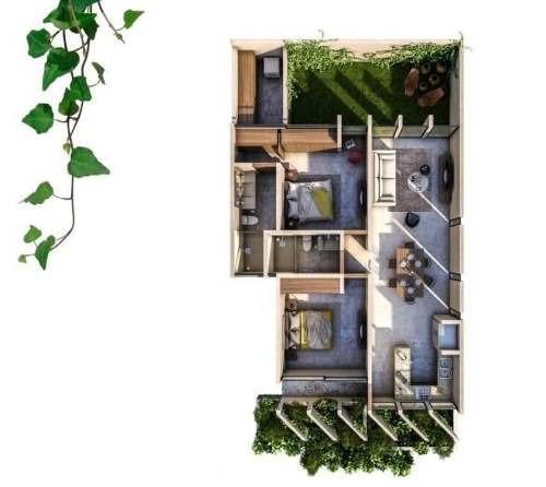 departamento de 2 habitaciones en planta baja en helia condos
