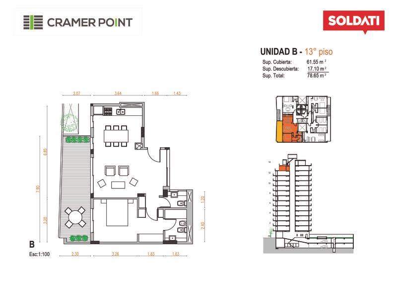 departamento  de cuatro ambientes en cramer 2500