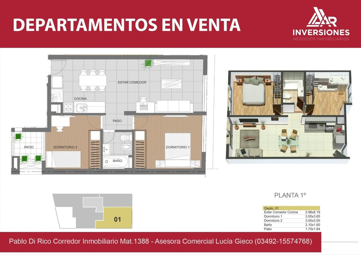 departamento de dos dormitorios en venta a precio lanzamiento!! parrillero y solarium - edificio con gas - rosario