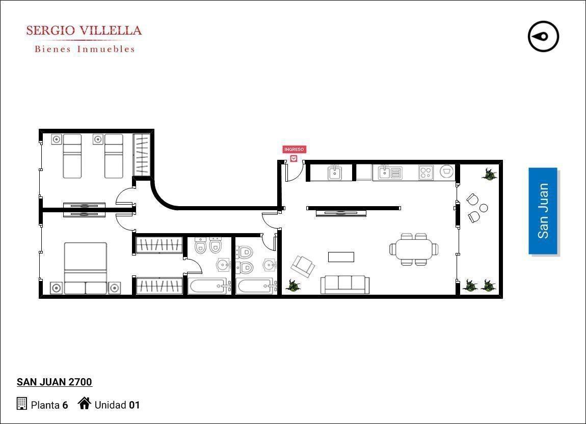 departamento de dos dormitorios en venta en rosario