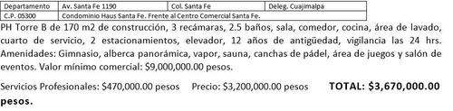 departamento de lujo ph santa fe remate $3,670,000