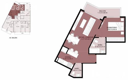 departamento de tres amb.  amplios al frente 74,39m2 - piscina -parrilla sum  -saavedra
