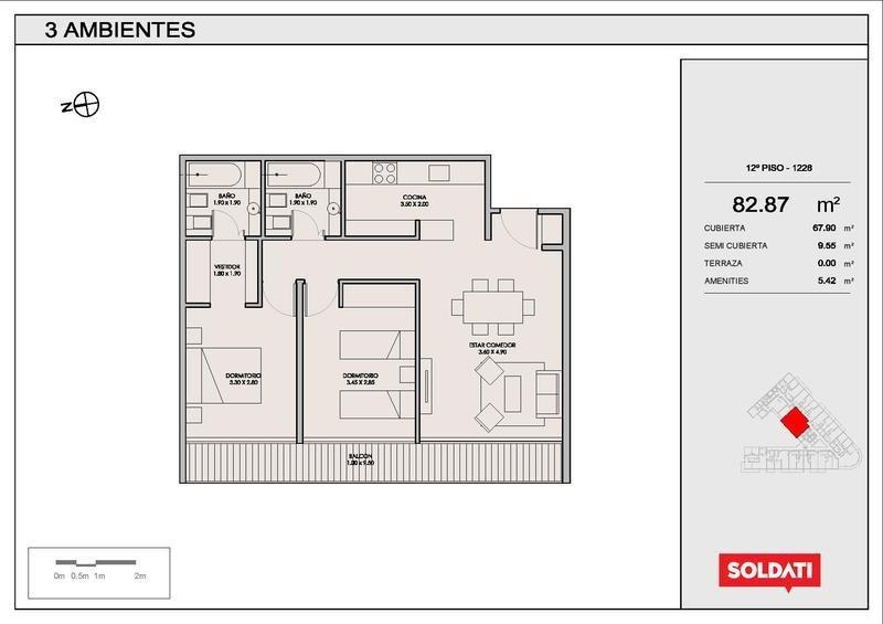 departamento de tres ambientes en villa crespo