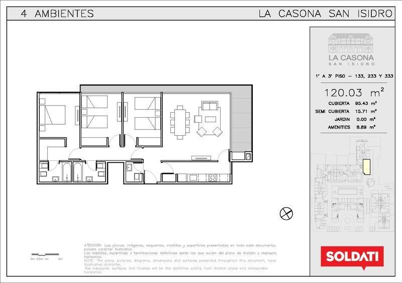 departamento de tres dormitorios  en san isidro
