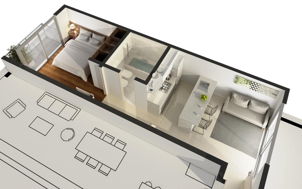 departamento dos ambientes 41m2 venta en pozo zona güemes