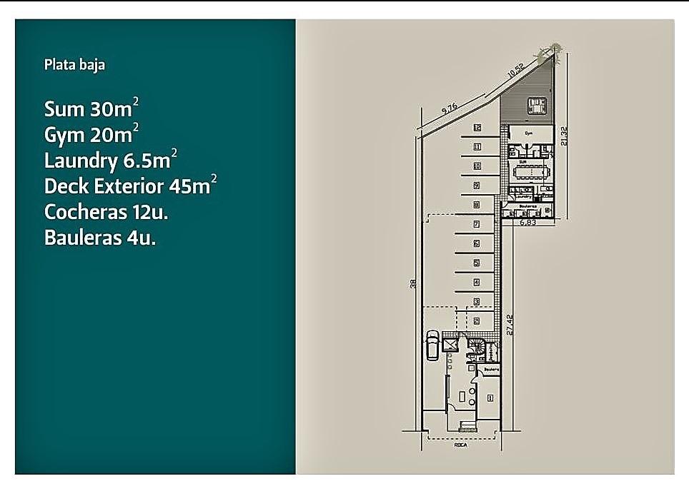 departamento dos ambientes 60m2 en construcción zona güemes