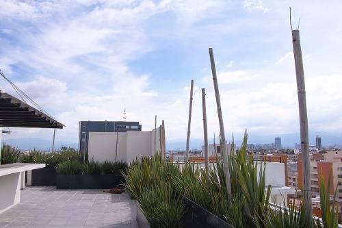 departamento eje central, en la colonia narvarte oriente, roof garden común