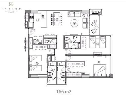 departamento en 4to piso, con vista al norte torre indico, via montejo