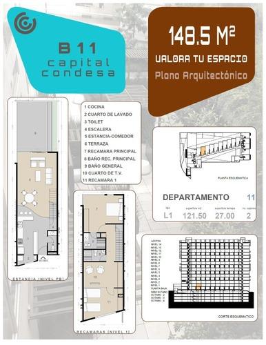 departamento en renta condesa planta baja con terraza (c)