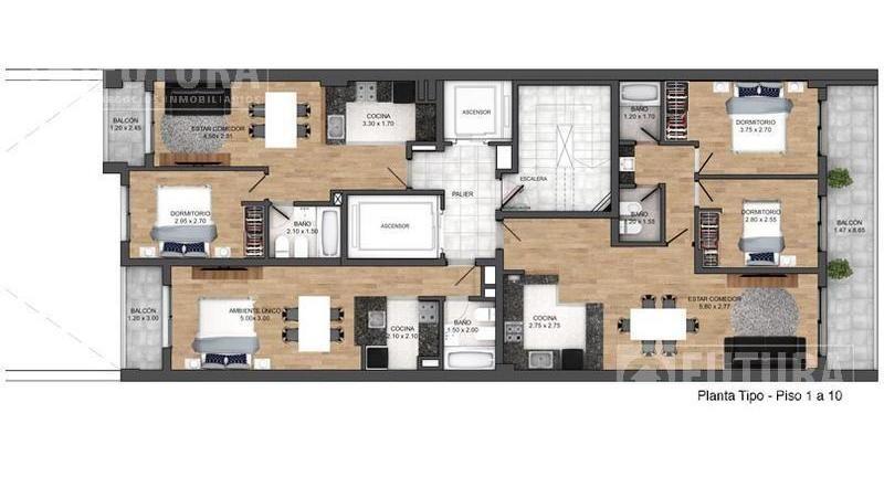 departamento en venta - 1 dormitorio al pozo - edificio scuba 44 - rosario centro