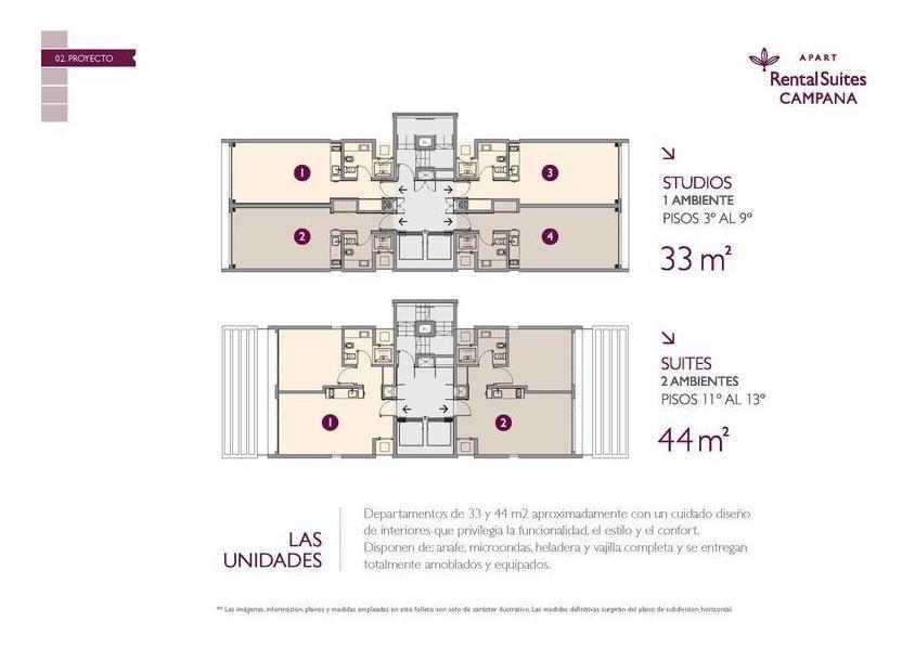 departamento en venta apart hotel en campana centro. escriturable. inversion de alta renta.
