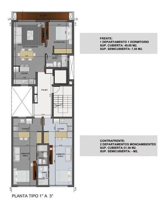departamento en venta de 1 dormitorio
