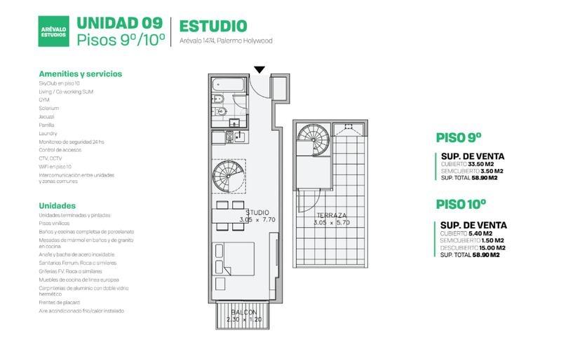 departamento en venta palermo 1 ambiente con terraza
