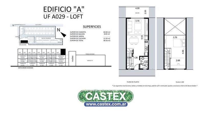 departamento loft de dos ambientes en venta  en pilar, uf a 29