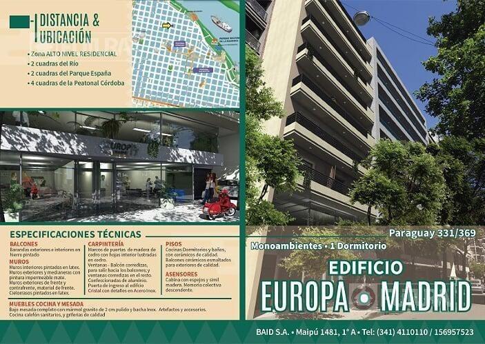 departamento monoambiente en venta  - rosario centro - zona rio y parque españa