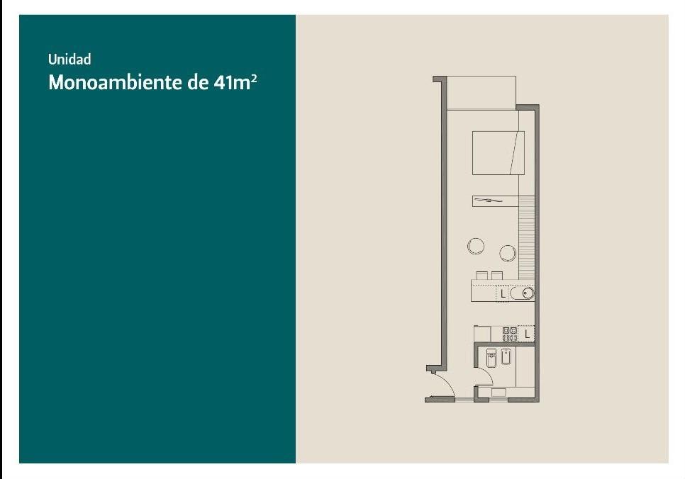 departamento monombiente 41m2 venta en pozo en güemes