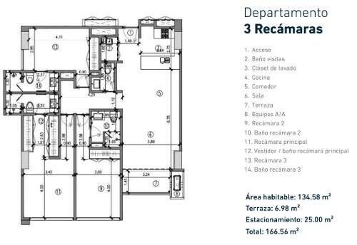 departamento nuevo de 3 rec. en venta, vía montejo, torre índico, mérida norte