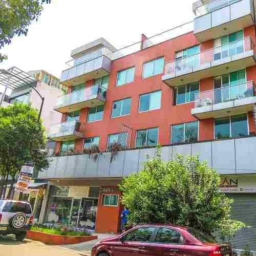 departamento roma norte con balcón muy iluminado
