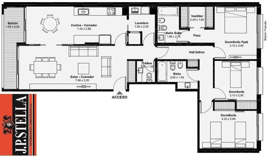 departamento semi piso 4 ambiente c/ cochera - s.justo (ctro)