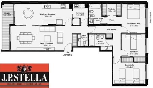 departamento semi piso 4 ambientes c/ cochera - s.justo (ctro)