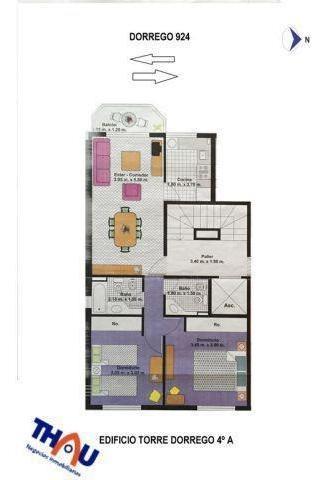 departamento semipiso de 2 dormitorios c/ piso flotante, placares embutidos, calefacción, estar comedor con salida al balcón al oeste, cocina completa, 2 baños.