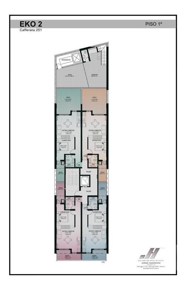 departamento un dormitorio con patio en edificio eko 2 cafferata al 200 - luis agote
