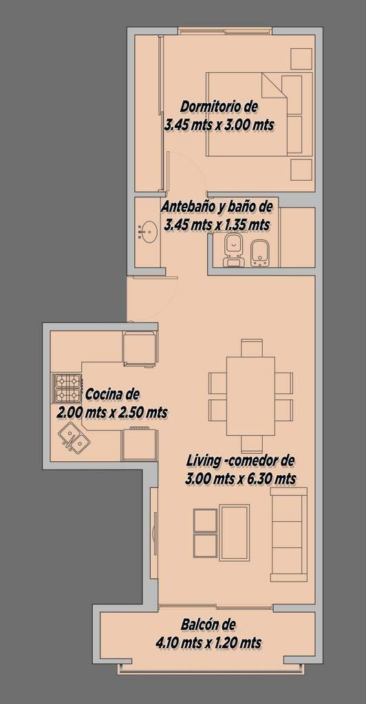 departamentos 2 ambientes al pozo en canning