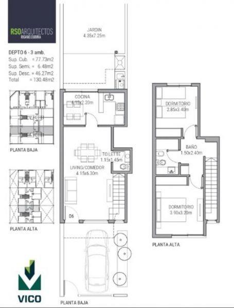 departamentos 3 ambientes c/ cochera de categoria