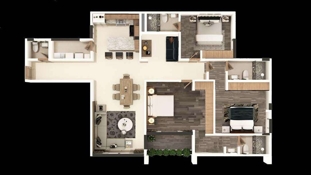 departamentos en venta en la torre eucaliptos, tipo f 3 recs, 2.5 baños 176m2