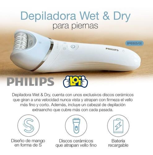 depiladora philips bre605 recargable  húmedo o seco loi