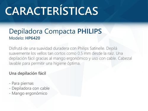 depiladora philips hp6420 satinelle compacta y suave pcm