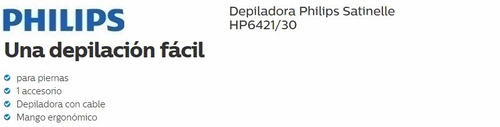 depiladora philips hp6421/30 satinelle cable 2 veloc evotech