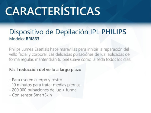 depiladora philips lumea bri863 luz pulsada ipl oferta pcm