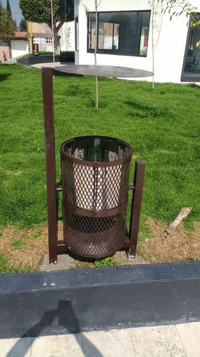 deposito de basura para parque semi forrado acero inoxidable