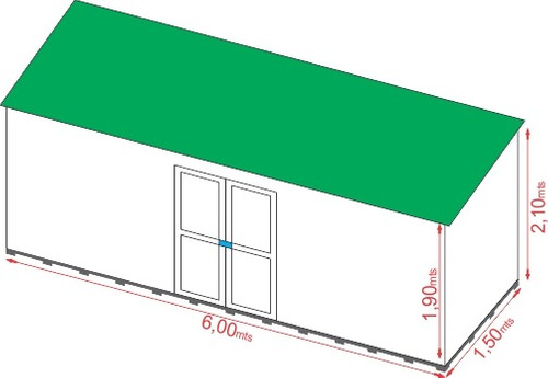 deposito de jardin, galpon, caseta, armario (6x1,5x2,10mts)