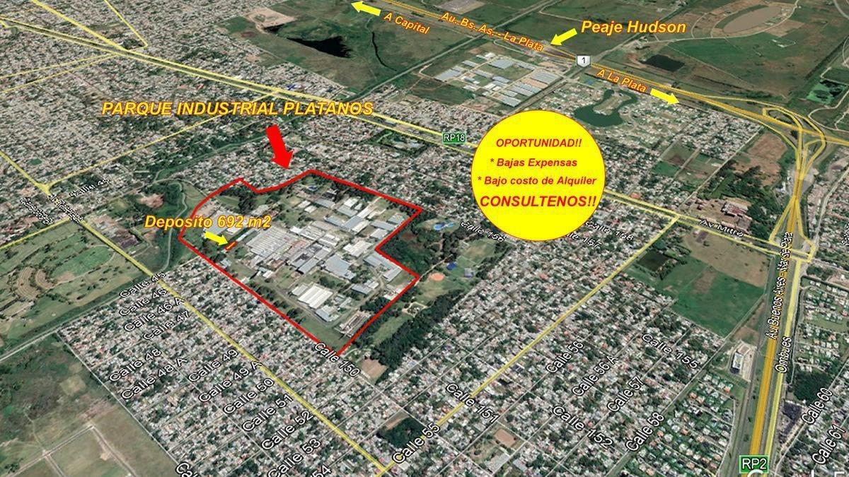 deposito en alquiler en parque industrial platanos 692 m2 - zona sur- oportunidad!!