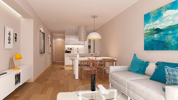 depto 1 dormitorio al pozo - cocina con isla - pisos de ingenieria - vistas unicas al parque - terraza verde con piscina climatizada