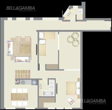 depto de 3 ambientes de 105m²