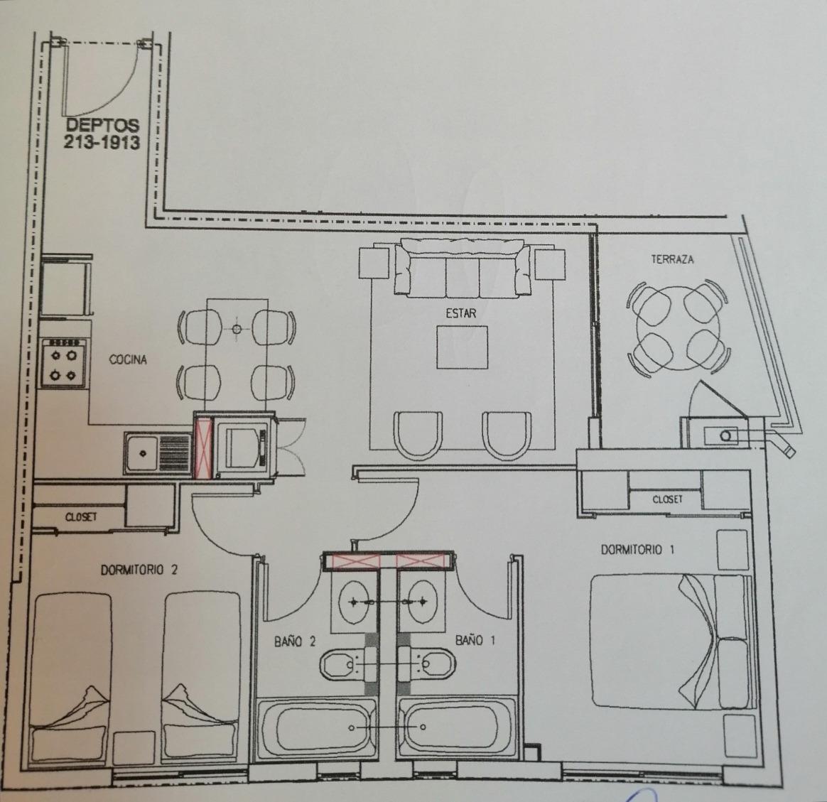 depto piso 11, 2 hab 2 baños y estacionamiento