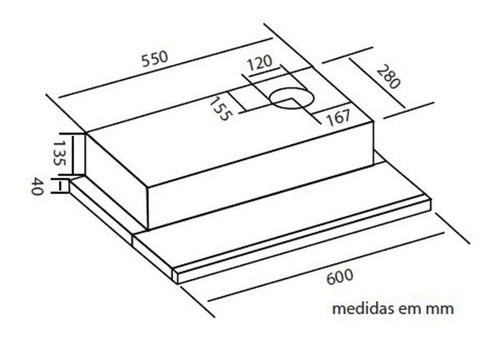 depurador de embutir slim retrátil safanelli inox 60cm