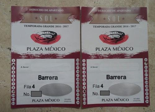 derechos de apartado plaza mexico