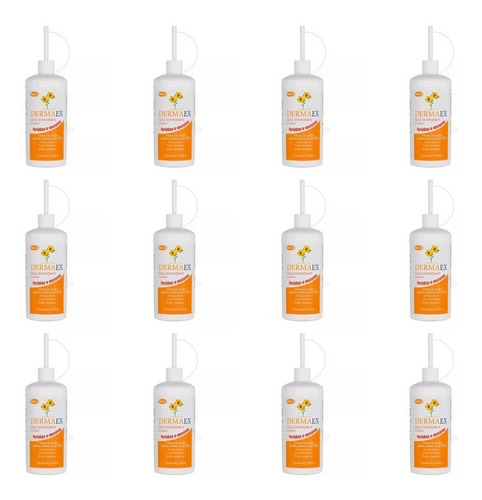 dermaex óleo de girassol cicatrizante 200ml (kit c/12)