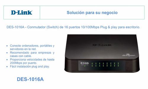 des-1016a - switch de 16 puertos plug & play - d-link