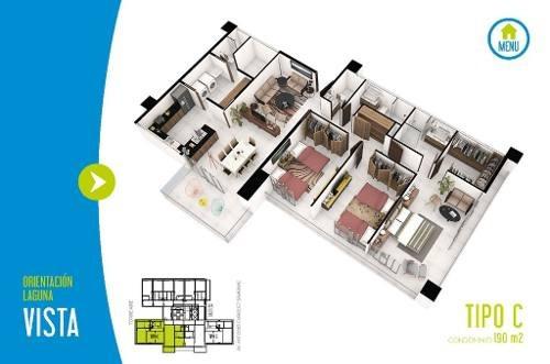 desarrollo brezza towers. deptos. de lujo. 3 recs. tipo c de 190 m2. el table. cancún