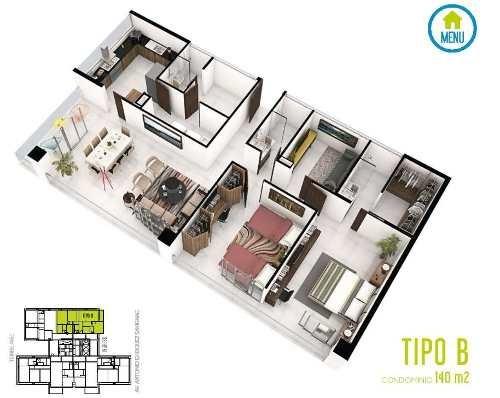 desarrollo brezza towers. deptos. de lujo. tipo b de 2 recs. 140 m2. el table. cancún